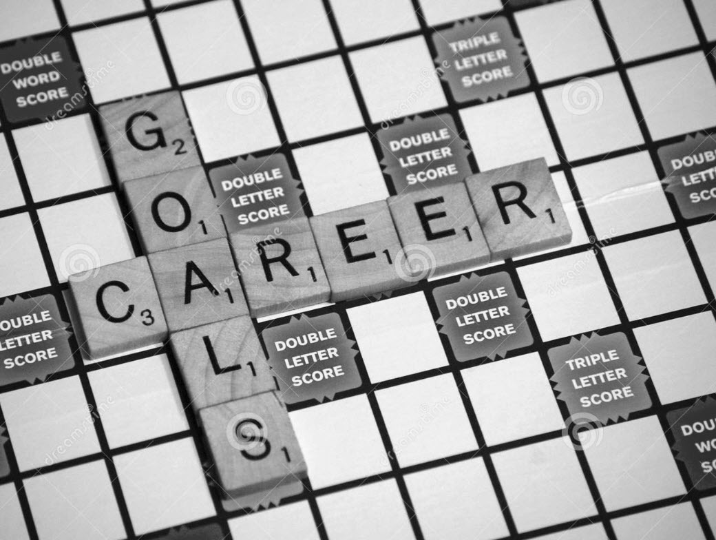 Career Goals on Scrabble board