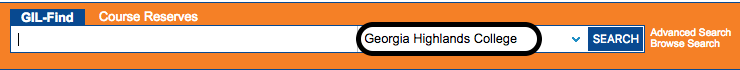 Screenshot of Gil-Find searchbox with Georgia Highlands College circled.
