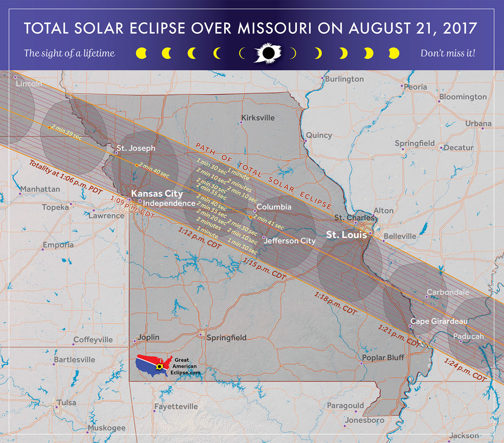 Map showing where in Missouri eclipse totality will occur