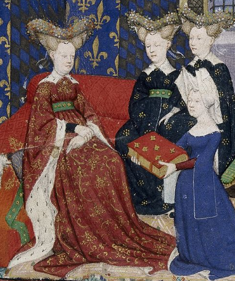 Tapestry 3 Medieval women, Christine de Pisan with book
