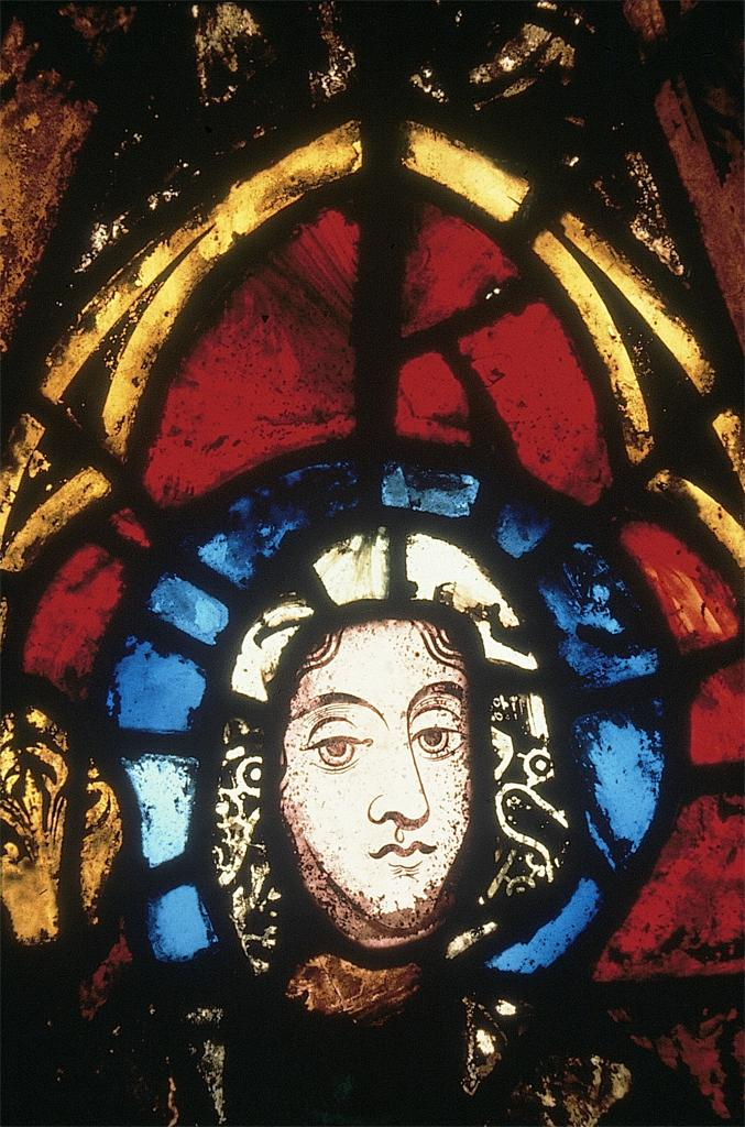 detail of stained glass portrait of St. Margaret