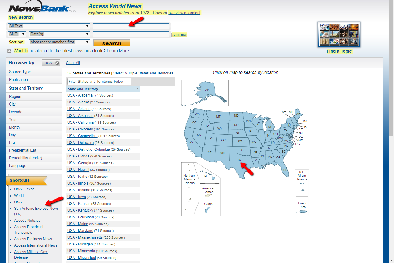 Screenshot of Access World News database