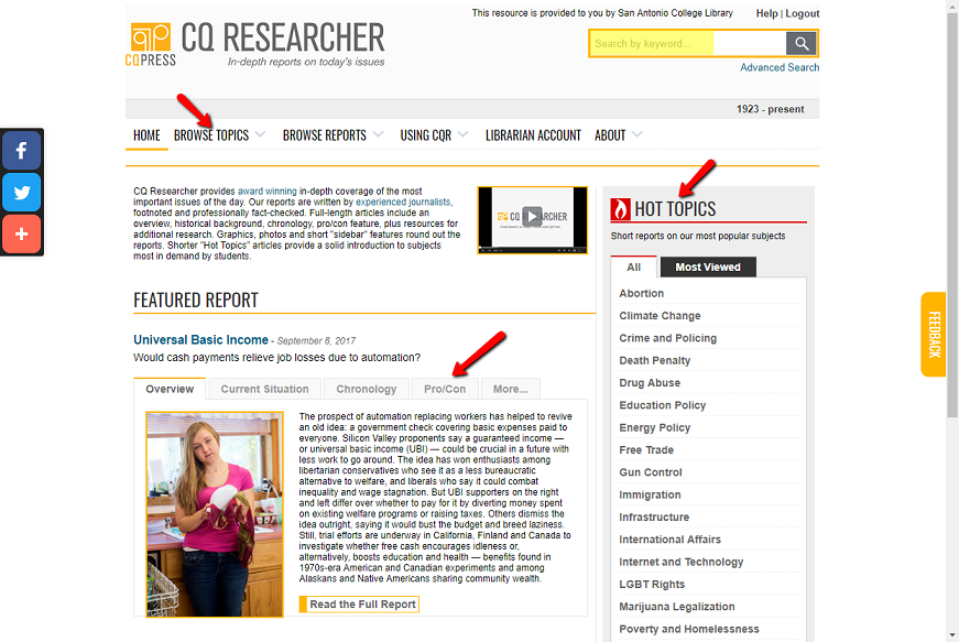 Screenshot of CQ Researcher