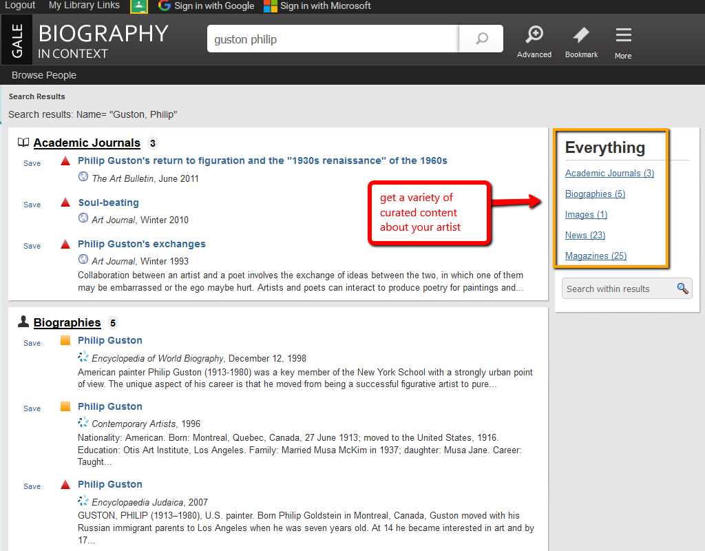 Biography In Context search example