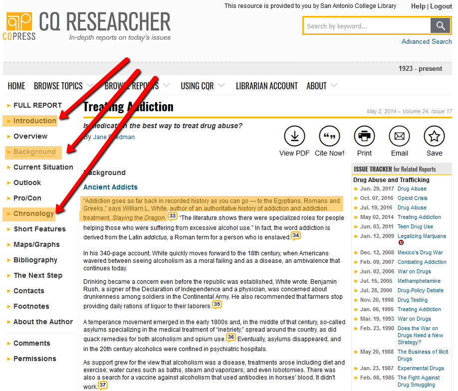 CQ Researcher search example