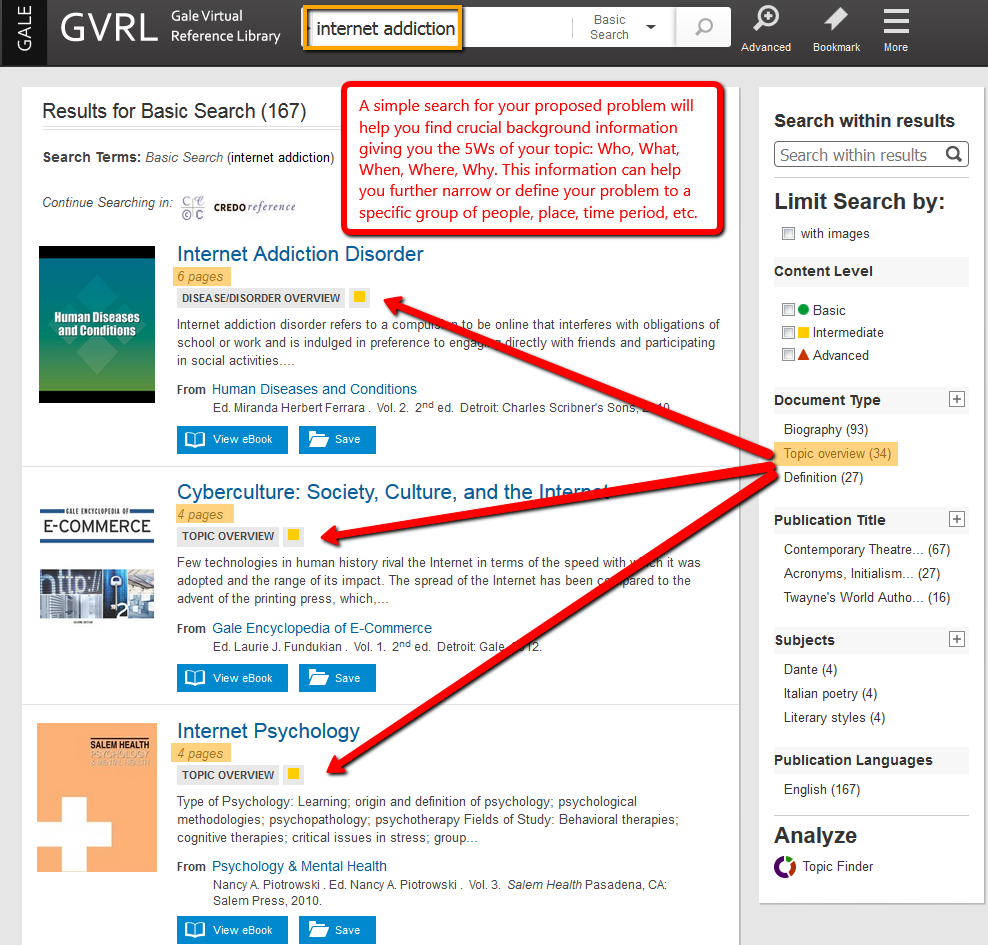 Gale Virtual Reference Library search example