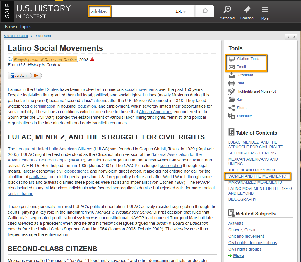 US History in Context search example