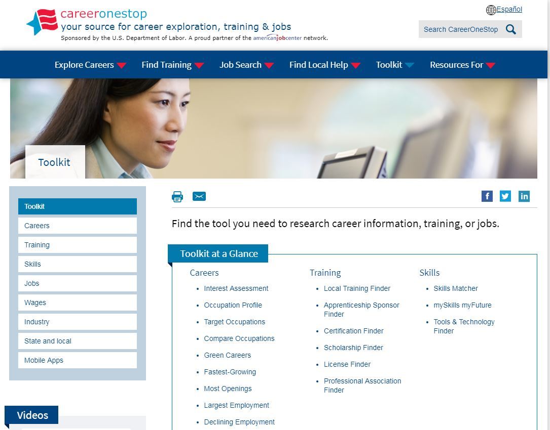 Career One Stop's toolkit page