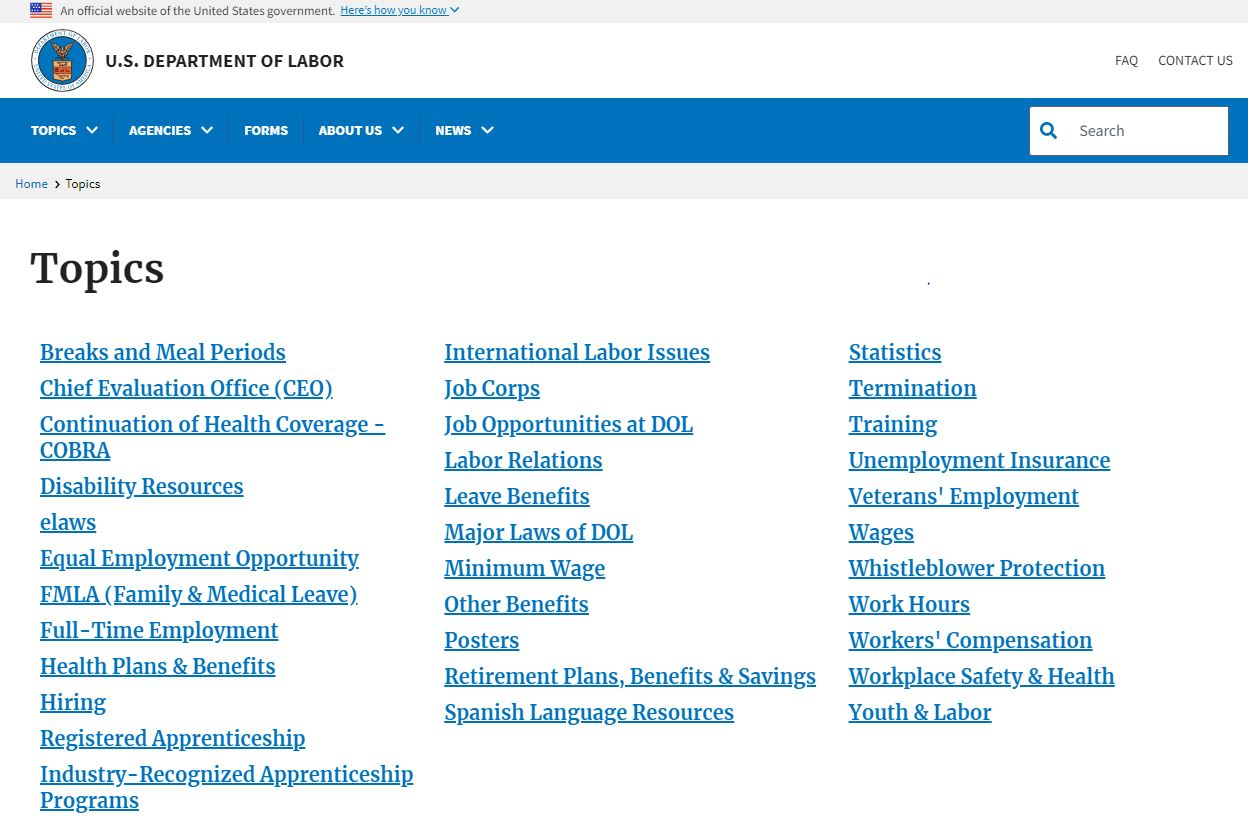 Topic list on DOL website