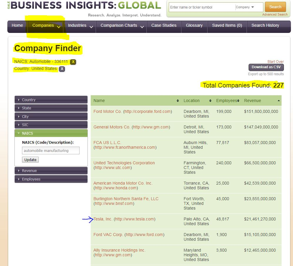 Business Insights: Global Company Finder example