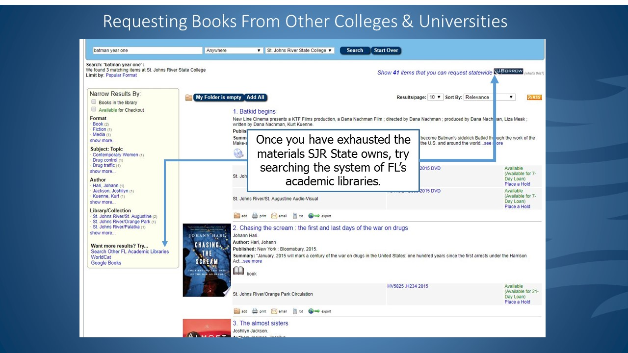 Once you have exhausted the materials SJR State owns, try searching the system of FL's academic libraries by clicking UBorrow at the top of the screen or the Search Other FL Academic Libraries link at the bottom left.