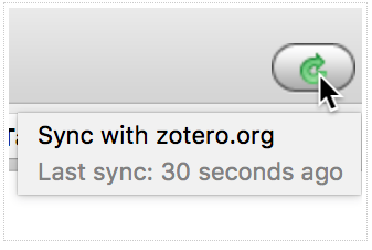 Zotero sync screenshot