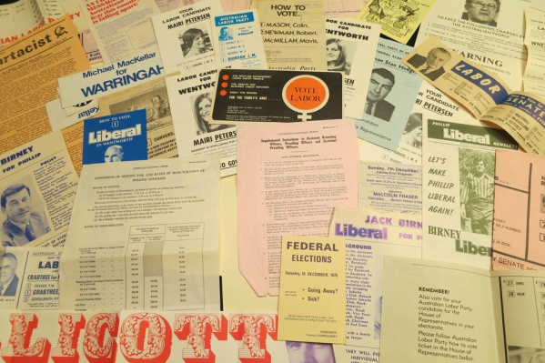 A selection of election ephemera from the 1975 Fed