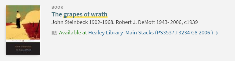 Grapes of Wrath record in library main stacks