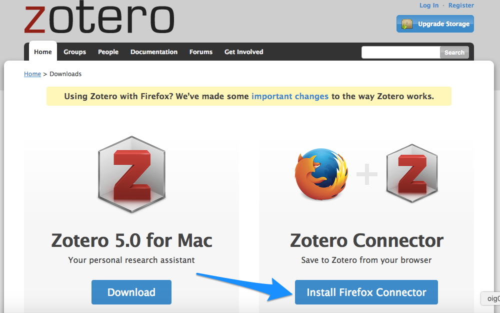 Zotero connector listed on Zotero Downloads page