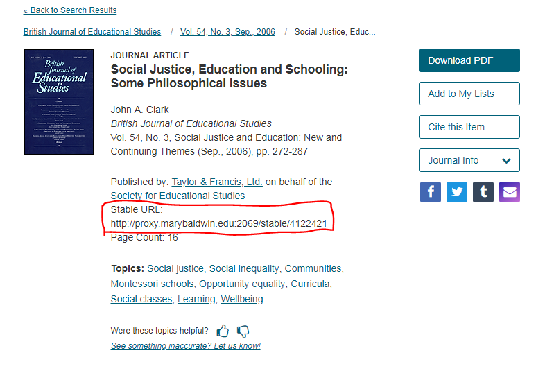 Screen cap highlighting permalink option in JSTOR