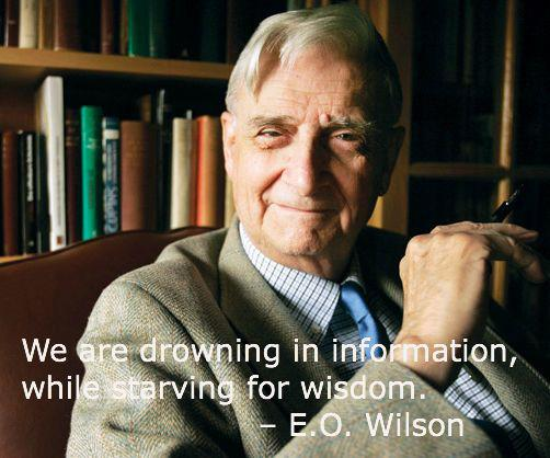 "Image of E.O. Wilson with text ""We are drowning in information, while starving for wisdom"""