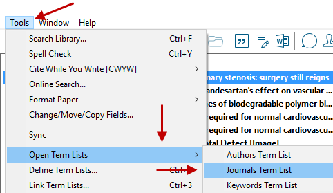 Journal Terms List Path