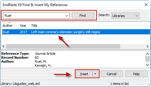Reference Find and Select Box