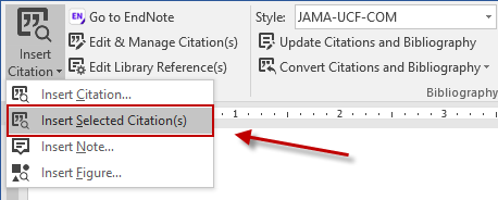 Insert Selected Citations from EndNote menu