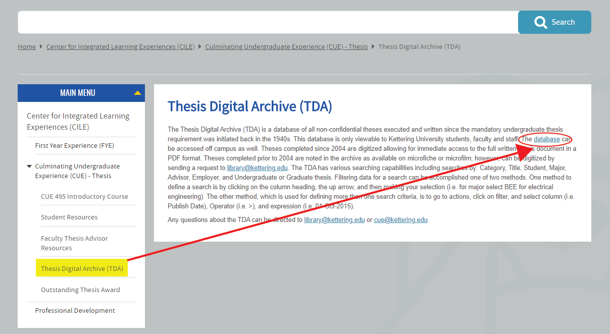 Thesis Digital Archive homepage
