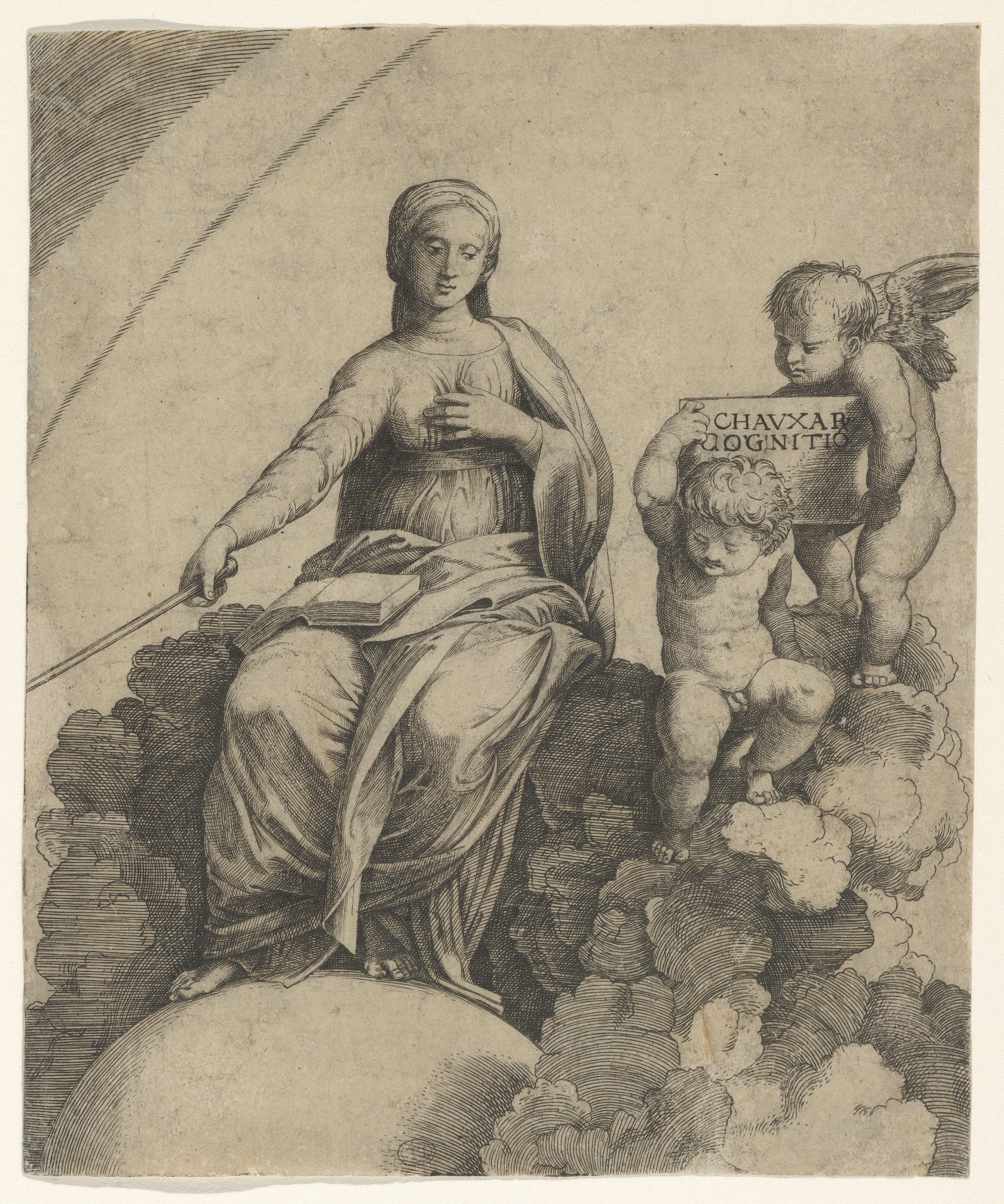 Engraving of the personification of Philosophy sitting on clouds with her feet resting on a globe, two putti at right holding a tablet
