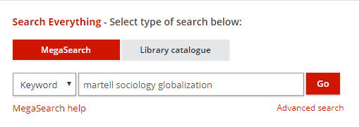 screenshot showing keyword search