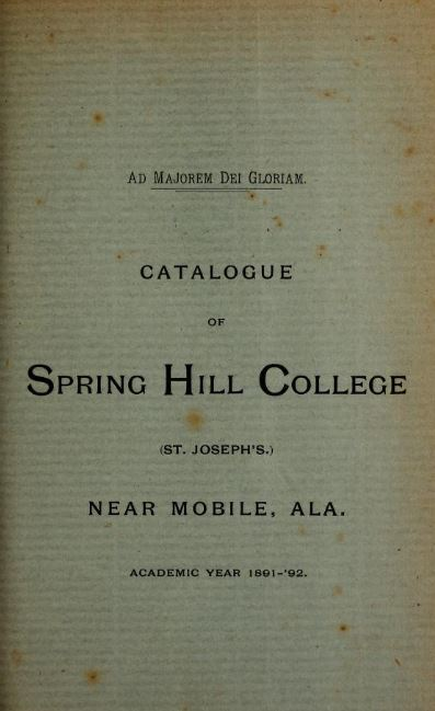 Cover of 1891 1892 college catalog