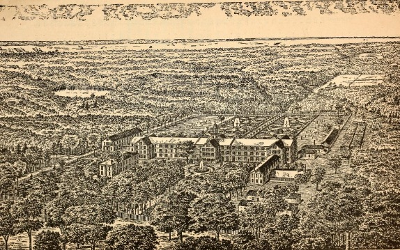 From the 1891 College Album, an aerial sketch of the college