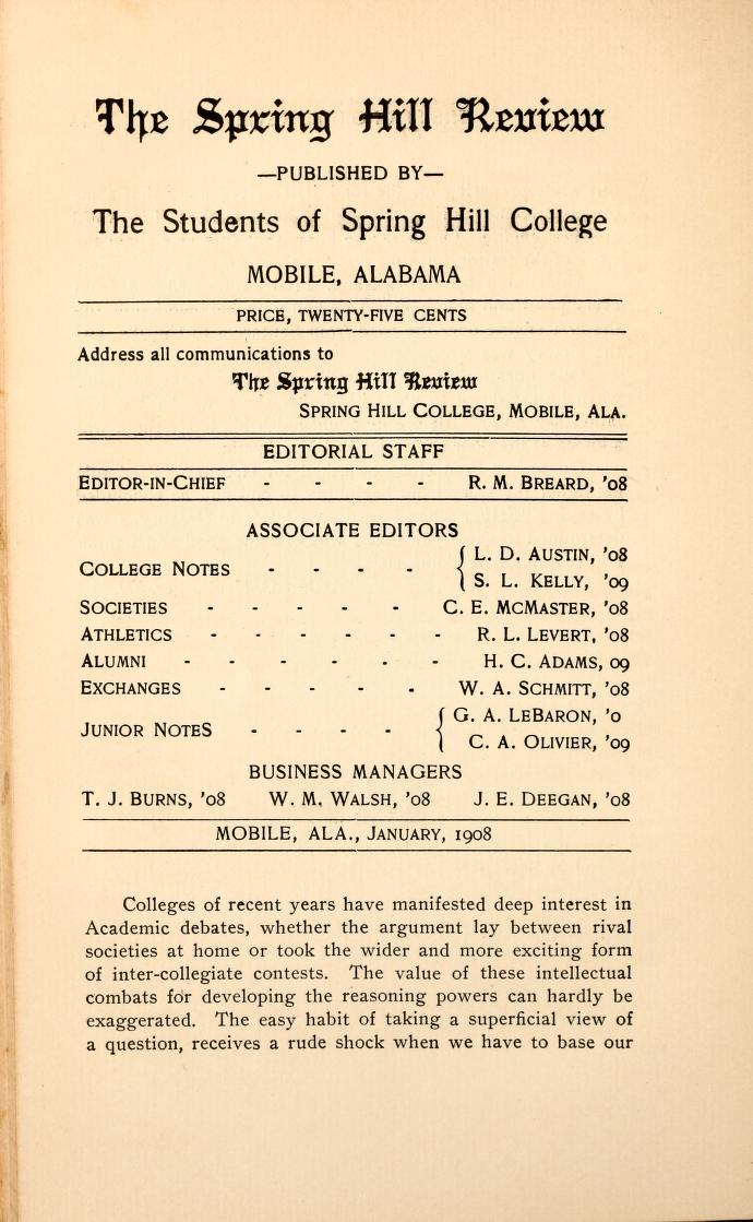 Table of contents of the 1908 spring hill review