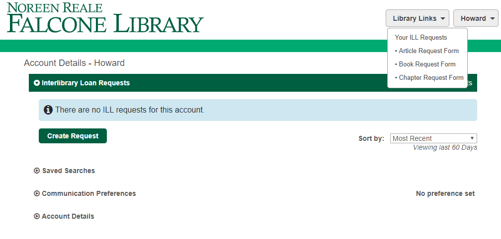 Interlibrary Loan Portal Homepage