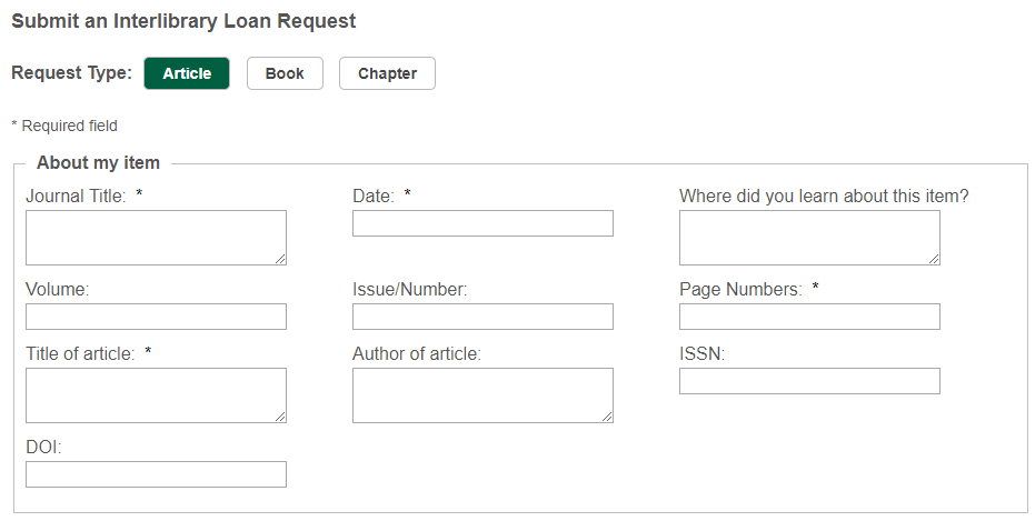 Form to Place New ILL Request