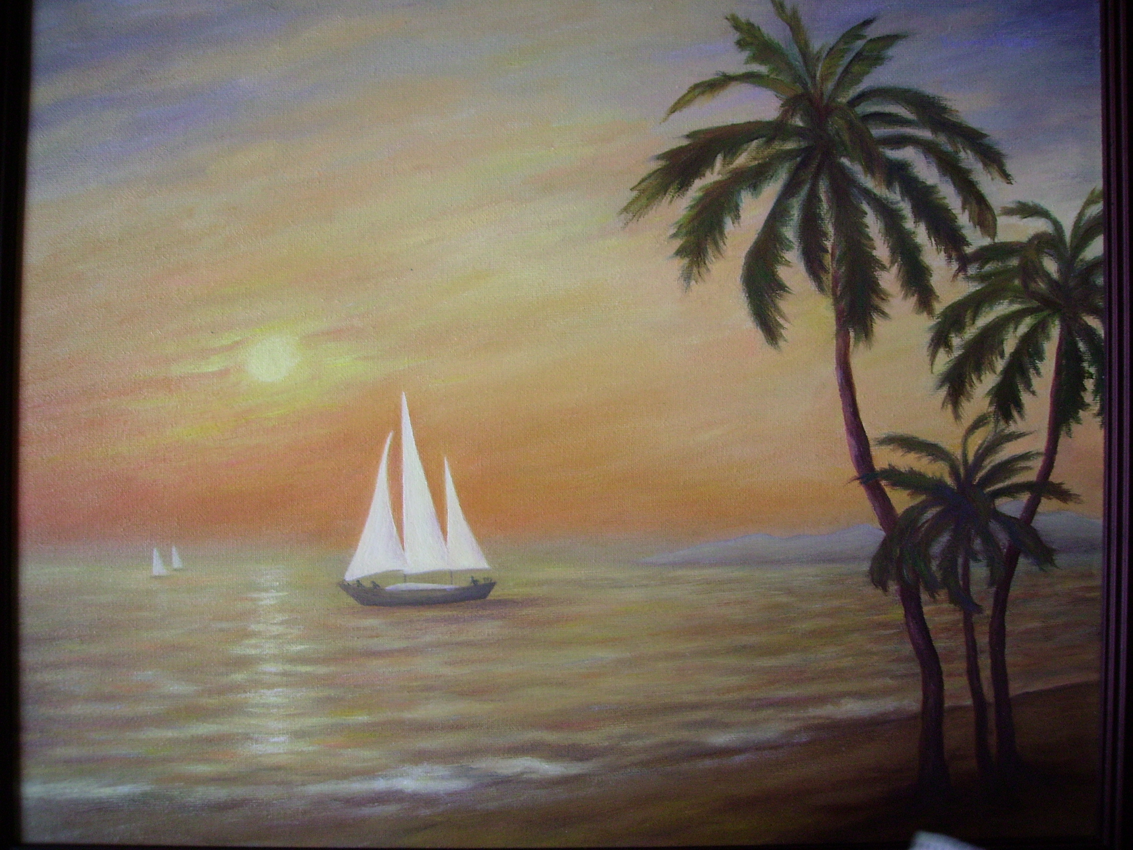Painting of a sailboat on the water with palm trees