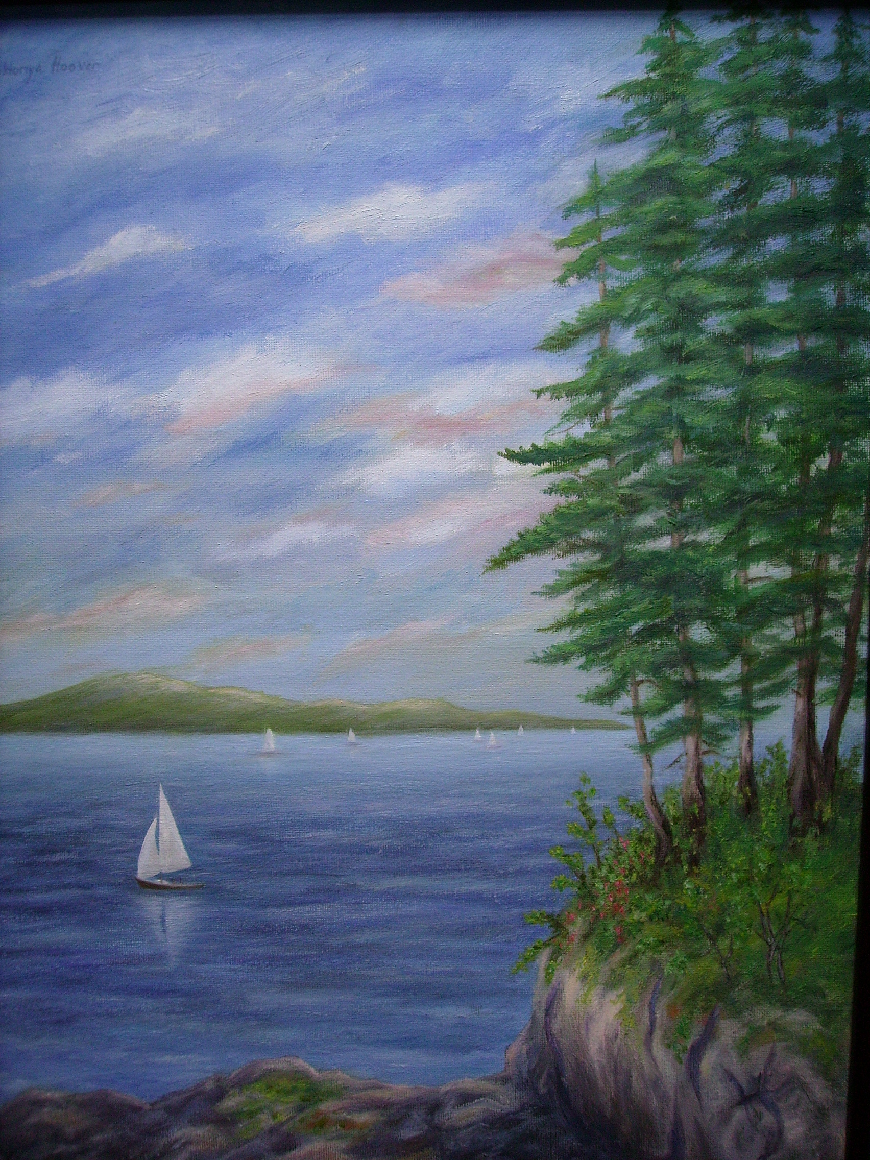 painting of sailboats on the water with pine trees