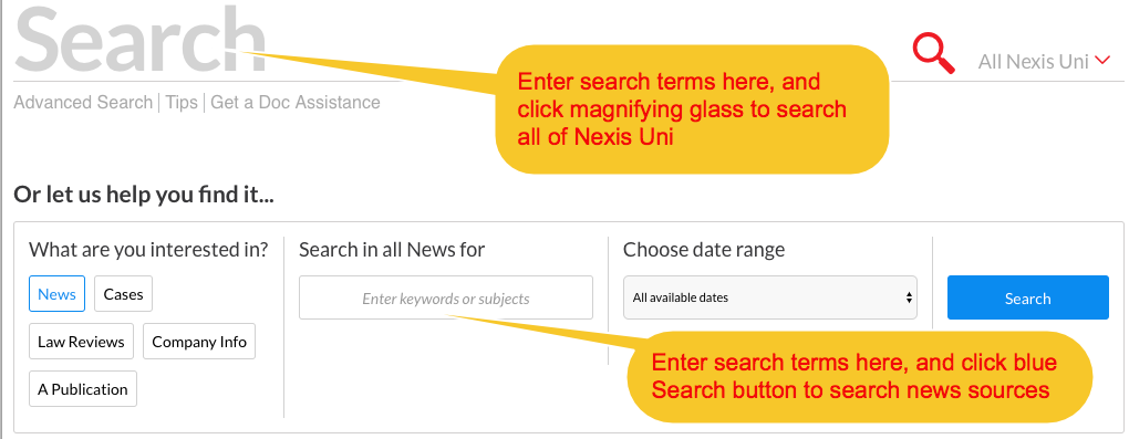 Nexis Uni Basic Search