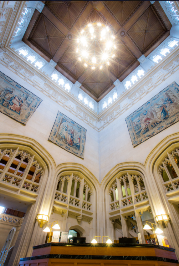 View of Thompson Library ceiling, chandelier, and tapestries