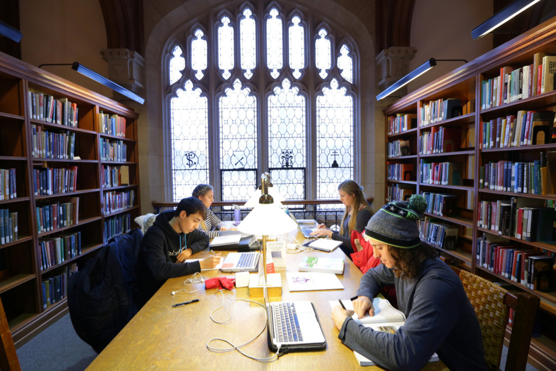Students researching at the libraries