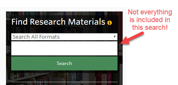 Not everything is included in the main search box on the library homepage!
