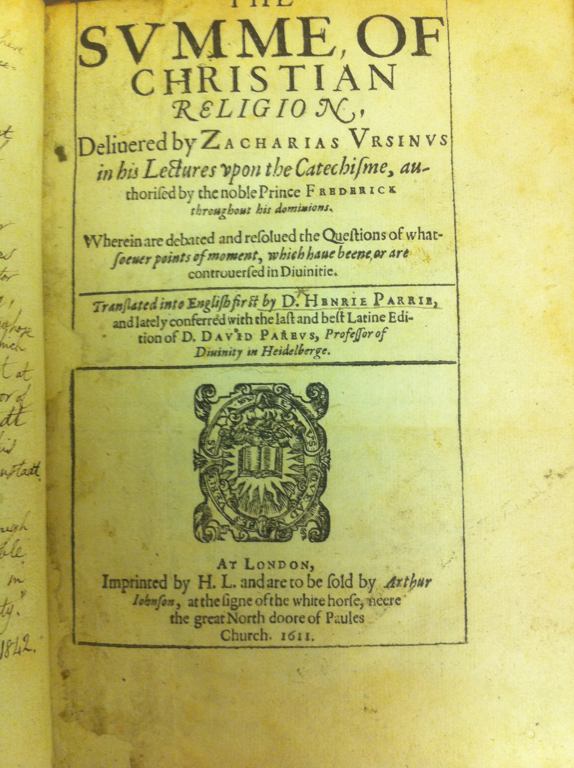 Title page of the Summit of the Christian Religion 1611