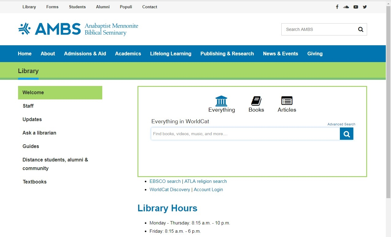 AMBS library website