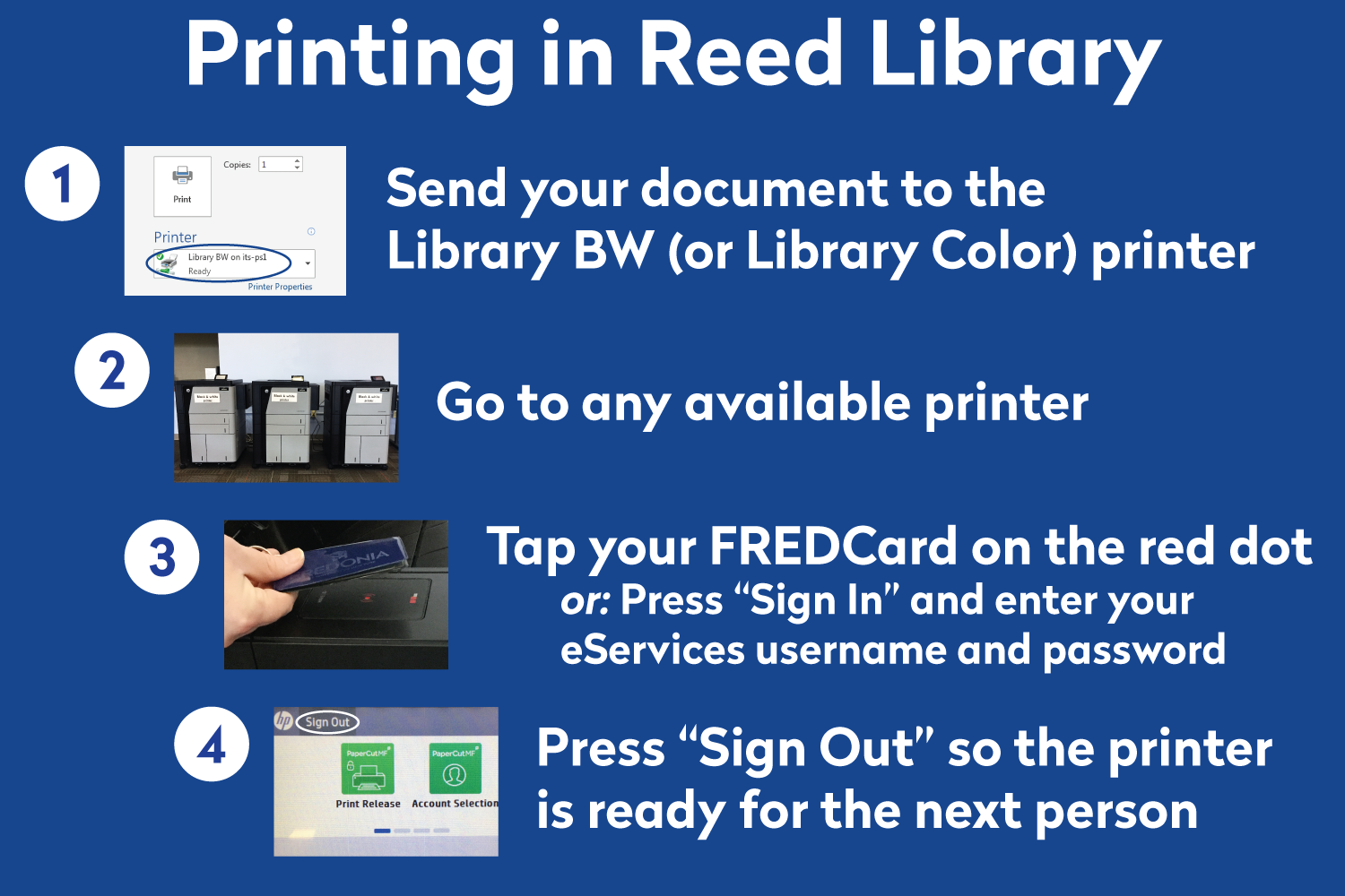 Printing in Reed Library poster