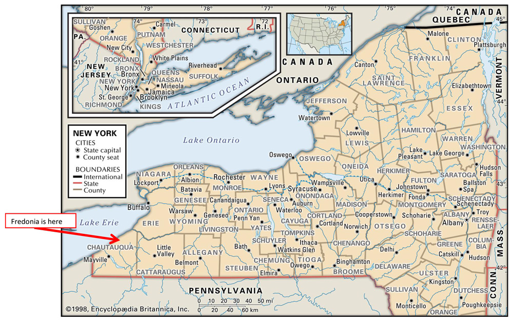 Map of New York showing Fredonia