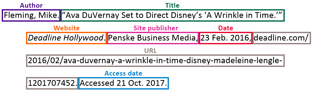 "Fleming, Mike. ""Ava DuVernay Set to Direct Disney's 'A Wrinkle in Time.'"" [italicized: Deadline Hollywood.] Penskey Business Media, 23 Feb. 2016, [URL]. Accessed 21 Oct. 2017."