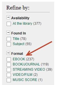 [ Image of the Refine By Column in the Library Catalog ]