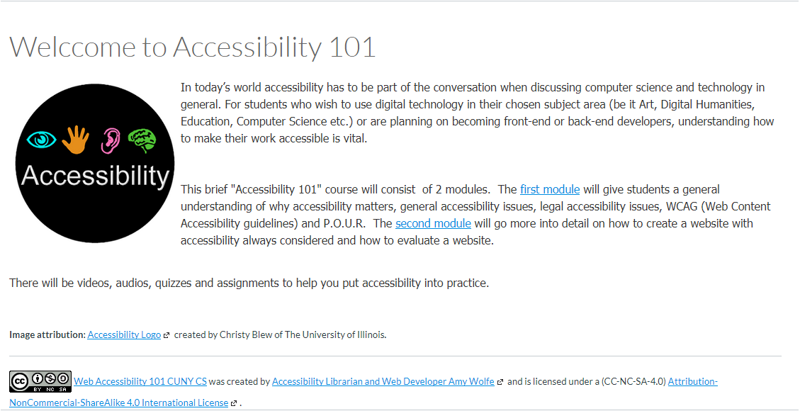 Screen grab of welcome page to Accessibility 101, click to go to site..