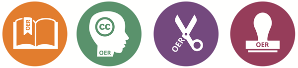 Image of four circles that include the term OER