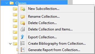 Zotero Collection Menu