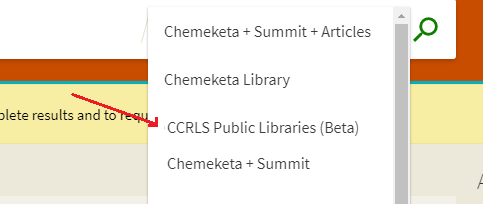 closeup of library search dropdown menu showing CCRLS Public Libraries scope