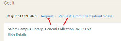 detail picture of screen in primo library search showing request options, including request summit item