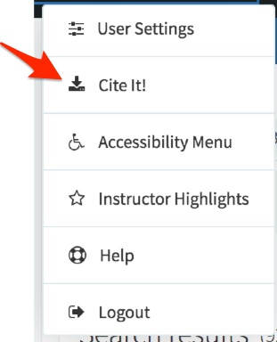 Select Cite It! from the dropdown options